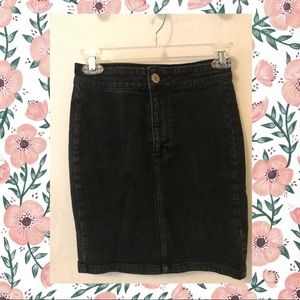 High waisted black jean skirt